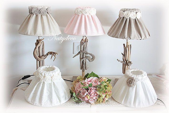 création NATYDECO Abat jour déhoussable et lavable en lin couleur lin ou ecru ou rose poudre avec collier en fleurs voile de lin couleur taupe ou couleur blanc cassé vente sur http://www.natydecocorse.com/