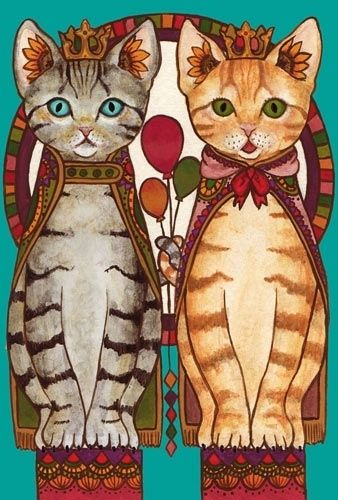 Cat art reminds me of Ms kitty and Xochitl harnessed for walkies!