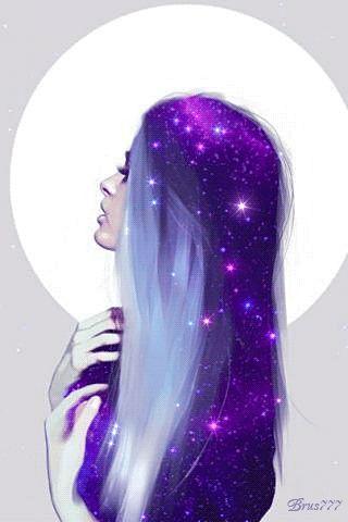 animated, girl. universe, purple, hair, stars, pastel, tumblr, gif