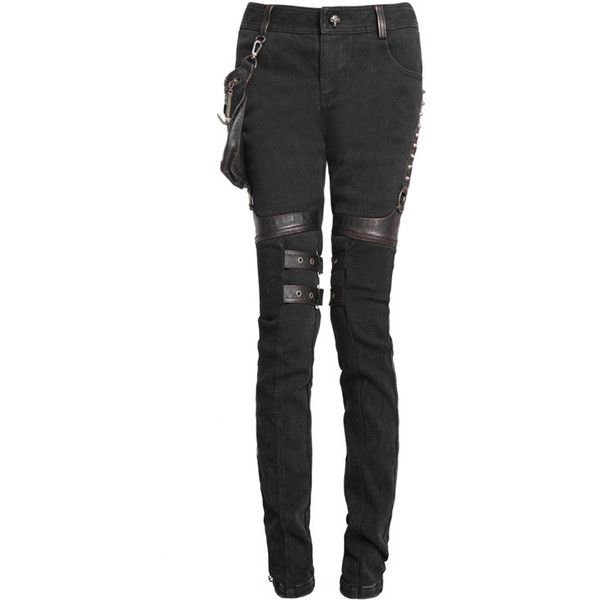 K-207 PUNK RAVE, black skinny jeans, pockets, steampunk pants ($70) ❤ liked on Polyvore featuring jeans, pants, bottoms, pocket jeans, punk rock jeans, punk jeans, black jeans and lined jeans