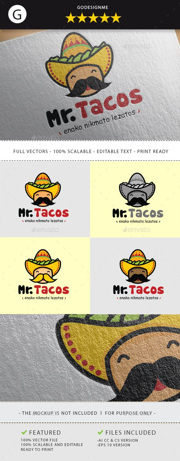 Mr Tacos Logo Template Vector EPS, AI. Download here: http://graphicriver.net/item/mr-tacos/11211269?ref=ksioks