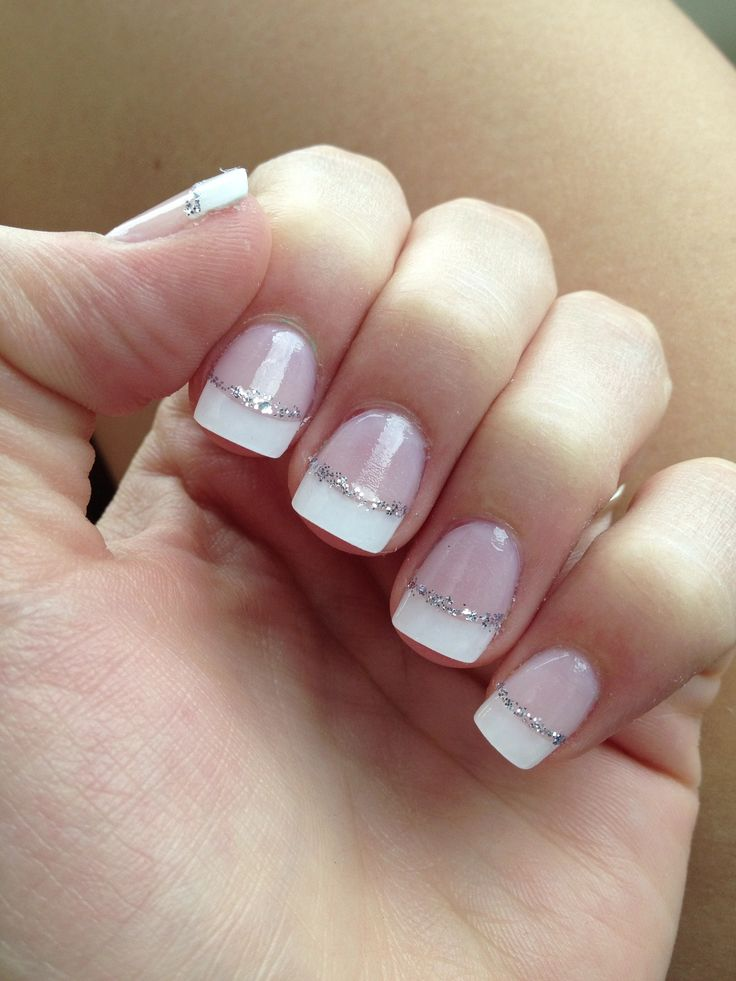 French tip nails with silver glitter line (Thinking of getting something like this for A&A's wedding...)