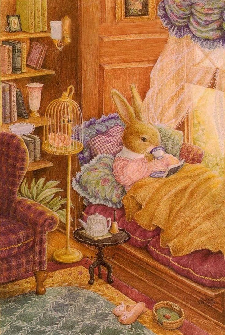 So cute, little bunny has a cozy tea in the window seat. - by Susan Wheeler