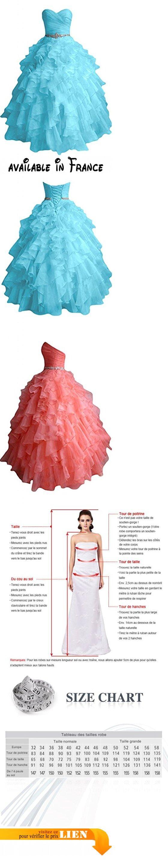 Sunvary robe de soiree robe de bal robe de party princesse organza volants a cascades taille 48 bleu il y a peut etre une deviation entre la couleur de