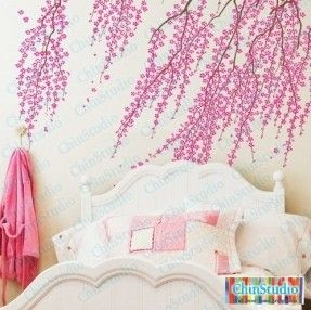 Cherry blossom tree wall decal for living room-Vinyl wall decal wall decals nursery wall stickers flowers wall decal home decor. $53.95, via Etsy.