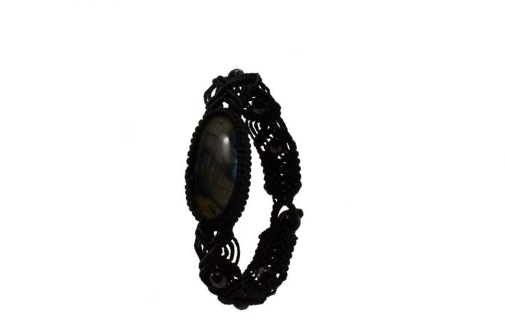 Ανδρικό πλεκτό βραχιόλι με λαμπραδορίτη και αιματίτη - Macrame bracelet for men with men with labradorite and hematite