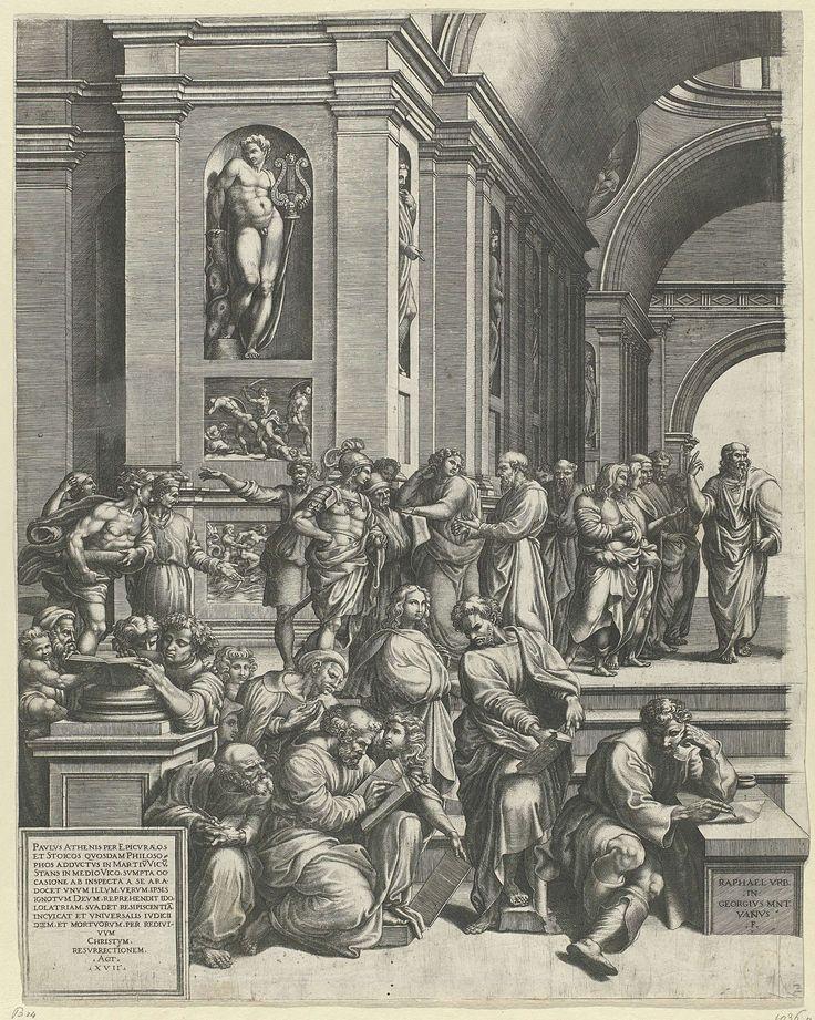 De School van Athene (linker deel), Giorgio Ghisi, Rafa�l, 1530 - 1582