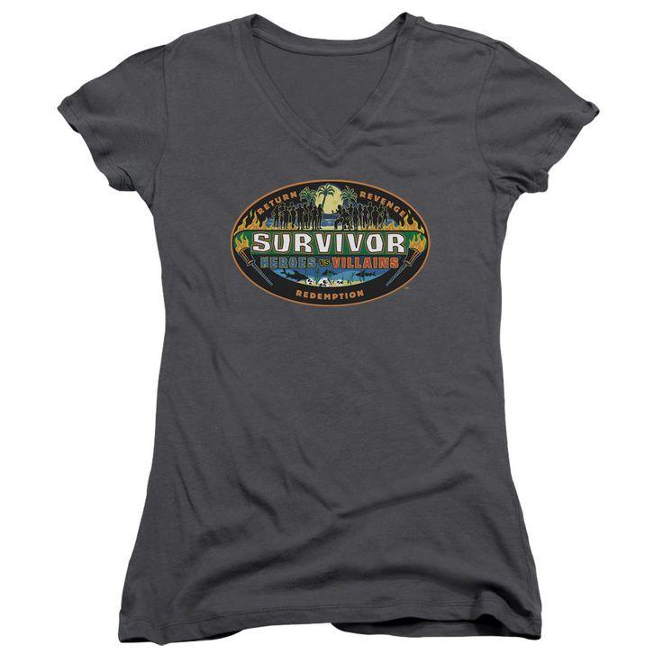 Survivor Heroes vs. Villains Charcoal Womens V-Neck T-Shirt