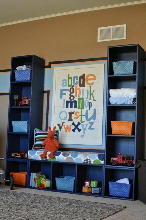 design ideen für kinderzimmer blauer schrank