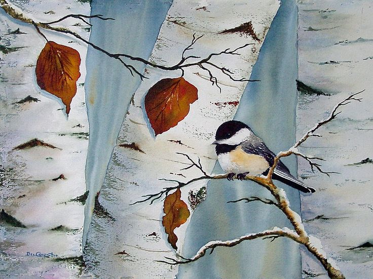 Chickadee In The Birch Painting  - Chickadee In The Birch Fine Art Print                                                                                                                                                                                 More
