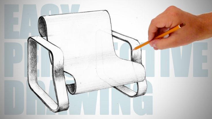 How to draw a modern chair - Easy Perspective Drawing 14