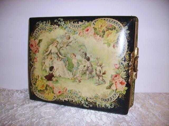 Antique Art Nouveau Maiden & Cherubs Celluloid Photo Album and Photos 1800's.