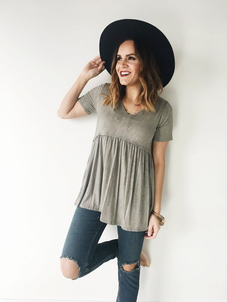Grey V-Neck Babydoll Top Short Sleeve + Gathered Waist Acid Wash Flowing  Fit Also Available in Charcoal, Denim, + Rose - Best 25+ Babydoll Tops Ideas Only On Pinterest Mom Clothes