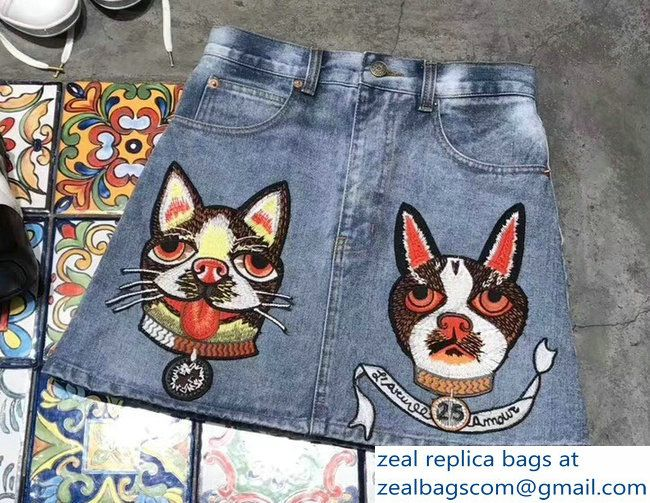 94e594188a5 Gucci Embroidered Boston Terrier Orso and Bosco Denim Skirt 2018. Find this  Pin and more on Luxury Clothes ...