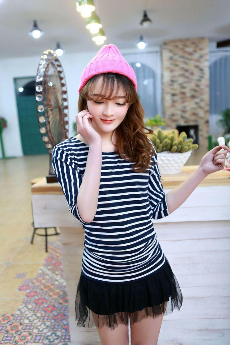 loose fit round collar batwing sleeve shirt, stripe T-shirt ghl0234, yrb, fashion, yrbfashion, cute dress, uk europe usa style, asian fashio...