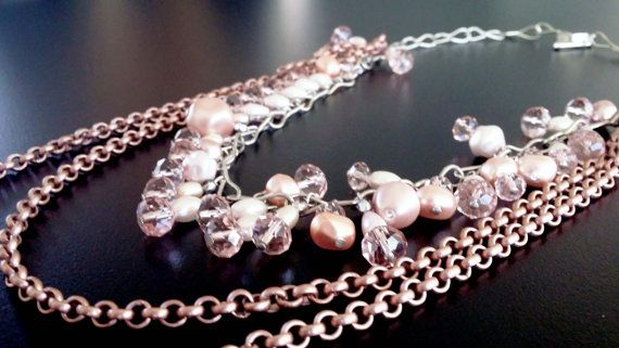 Handmade beaded necklace with Freshwater Pearls by BYTWINS on Etsy, €70.00