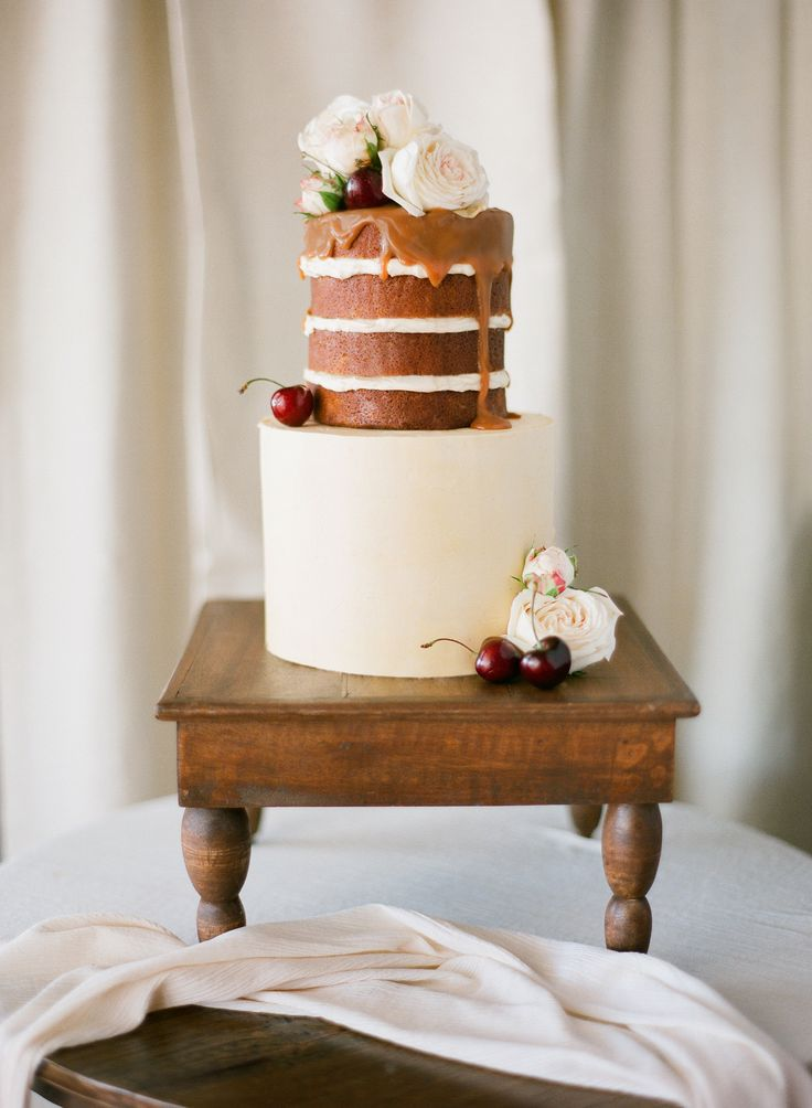 Personalised Gold naked cake with Salted Caramel