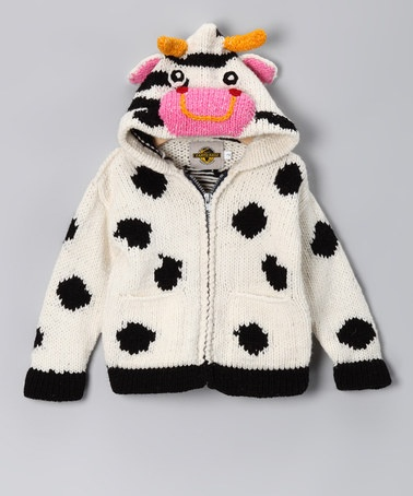 Take a look at this White Cow Wool Zip-Up Hoodie - Toddler & Kids by EARTH RAGZ on #zulily today!