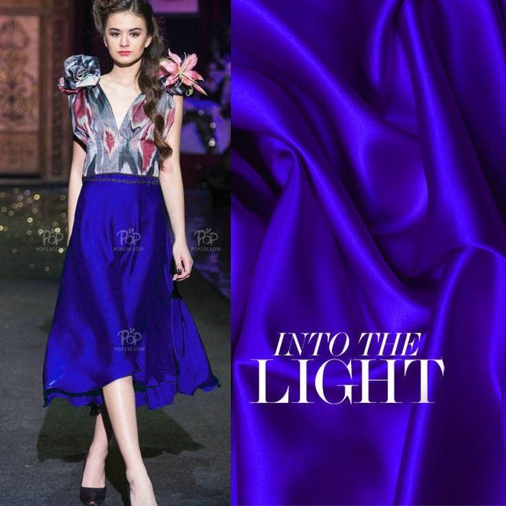 Люкс 100% Charmeuse Шелковый Mulberry Чистый синий Эластичный сатин одежды Ткань сшитое 2014 Brand New Хорошее качество ткани