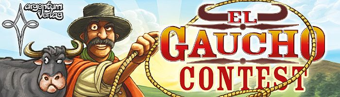 "Argentum's ""El Gaucho"" Contest! Attention, cattle barons! Argentum is having an El Gaucho contest and you are invited. Just answer several trivia questions for a chance of winning one of twelve copies of El Gaucho! Enter the contest at: https://boardgamegeek.com/contest/elgaucho"