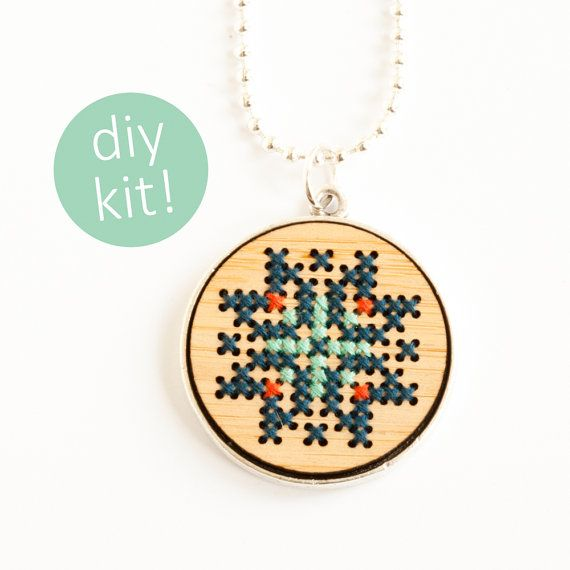 Cross Stitch Jewelry Kit // Hand Stitched Wood by RedGateStitchery
