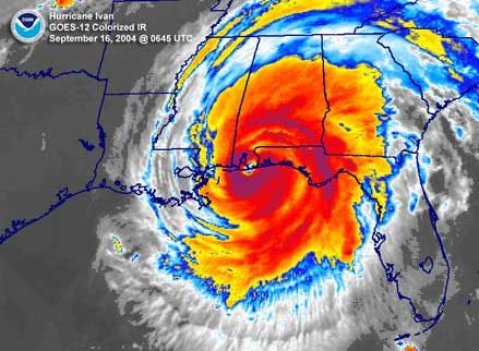 Hurricane Ivan, September 2004.  The darkness of night made the experience even more stunning.