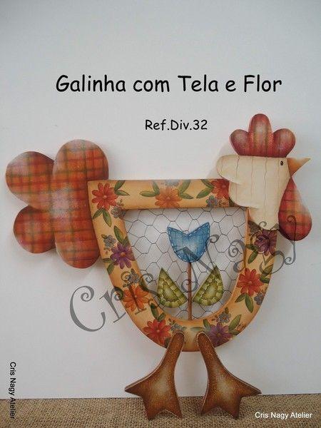 Galinha com Tela e Flor