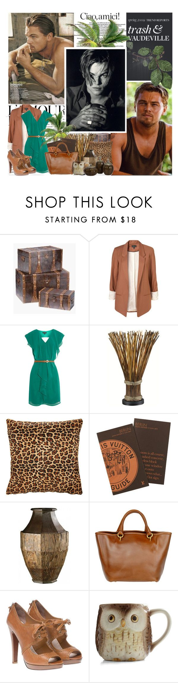 """""""From Boy to Man"""" by xkathrynxo ❤ liked on Polyvore featuring Warehouse, Barneys New York, Louis Vuitton, Vanessa Bruno, Miu Miu, leonardo dicaprio, hot, celebrity, jungle and brown"""