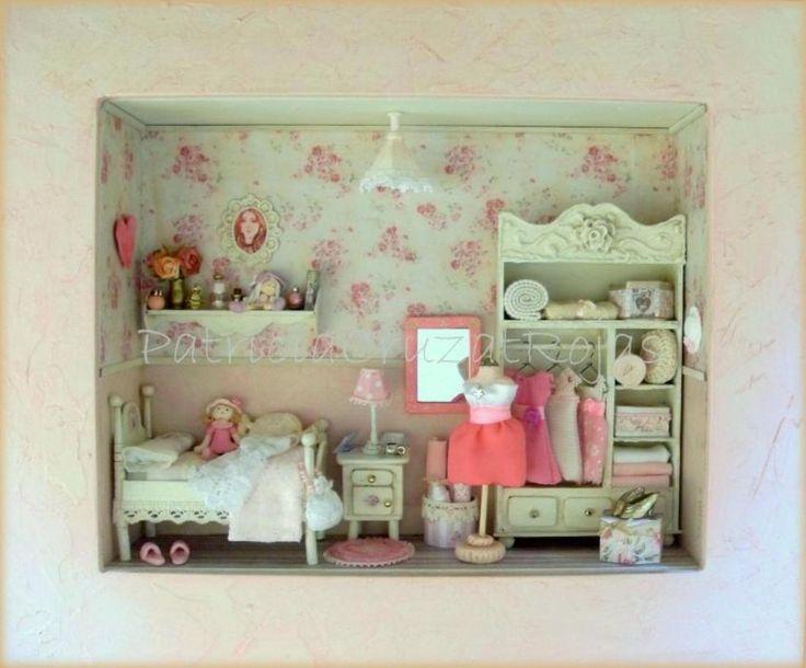 Dormitorio de niña con miniaturas hecho por encargo.