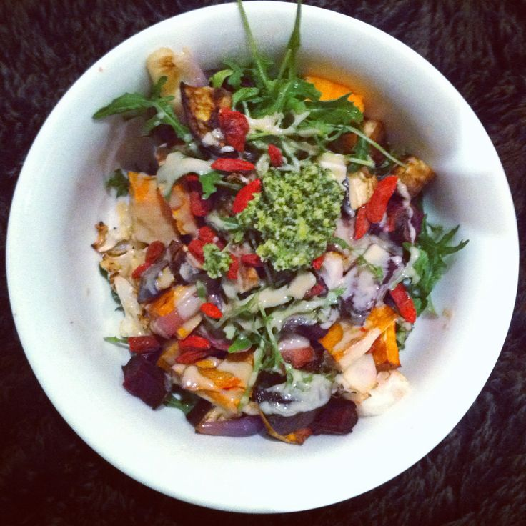 Rainbow salad with homemade pesto