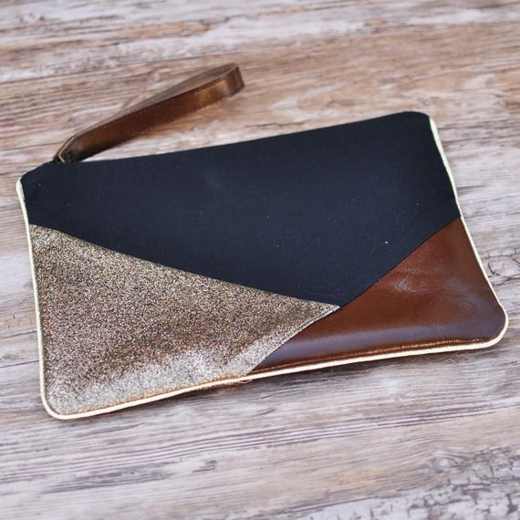 Pochette géometrique de soirée noire et marron glitter brillant pailleté