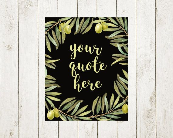 Custom quote print, personalized poster, Floral boho template, Wall decor, Watercolor olive wreath, calligraphy text