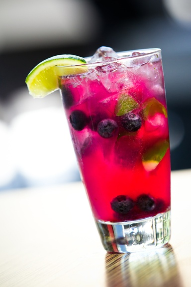 Blueberry Smash Summer Cocktail  Wow, if this isn't the most colorful drink...