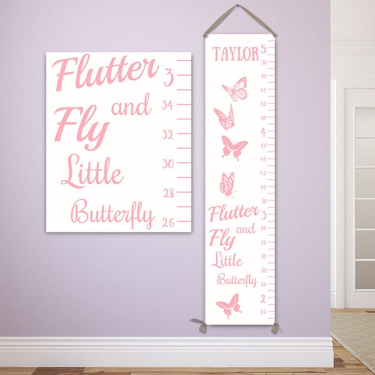Butterfly Growth Chart in White and Pink, Personalized Canvas Growth Chart, Butterfly Nursery Decor - GC2000W by JoliePrints on Etsy