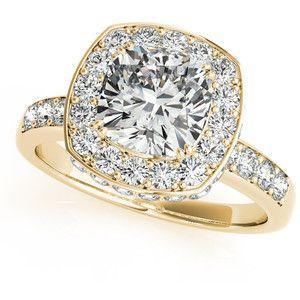Allurez Cushion Cut Halo Diamond Engagement Ring 14k Yellow Gold (1.34ct)