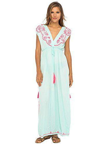 36000bc0eeca Back From Bali Womens Long Maxi Dress Boho Embroidered Sleeveless Summer  Sundress Deep V Neck