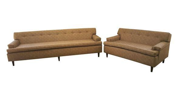 Light Grey MCM Couch and Loveseat Set on Chairish.com