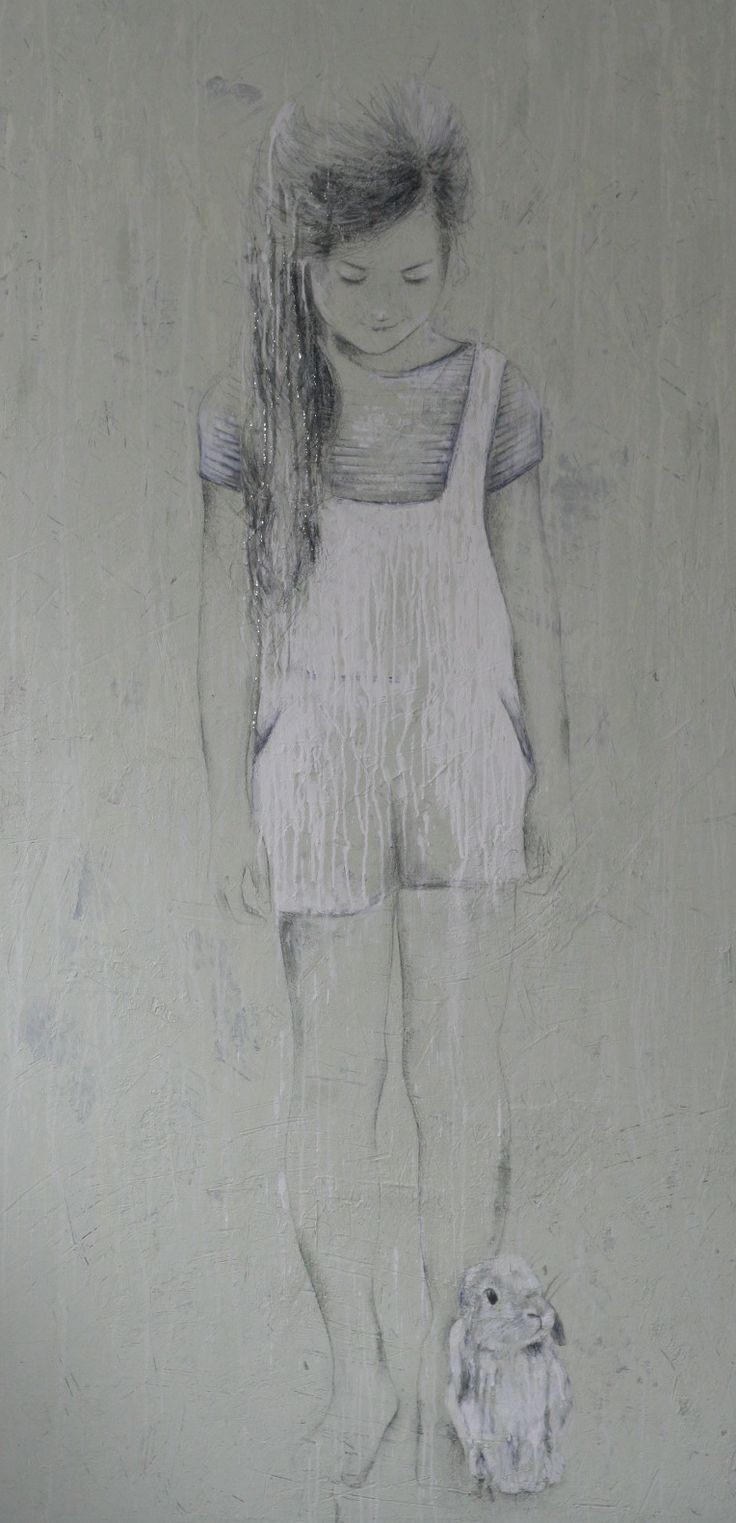 girl with rabbit painting 170x80