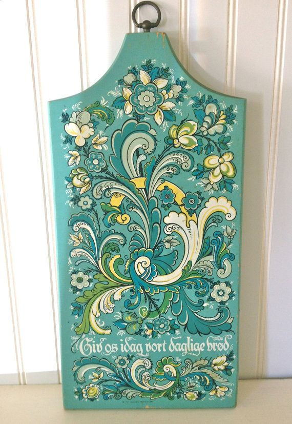 Reserved for Nanny...Folk Art 1965 BERGGREN TRAYNER Wooden Plaque with Turquoise White and Yellow