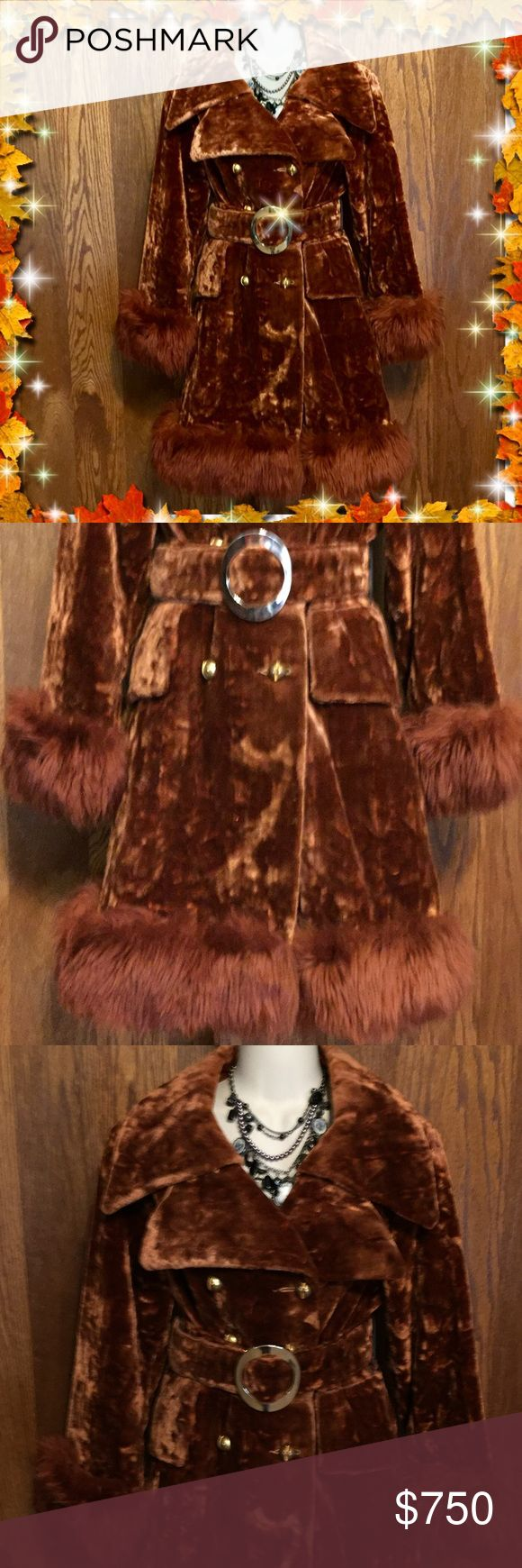 70s Penny Lane princess coat huge fur bell sleeve Gorgeous authentic 1970s Brown copper red lustrous velvet & faux fur! Omg! I love this insane coat it's in excellent condition with gold tone belt. Dramatic long shaggy fur on the bell sleeves & hem. Waist of coat has a flared princess peplum adding even more pizzazz! Fully lined with satin Best fit size small medium Vintage Jackets & Coats