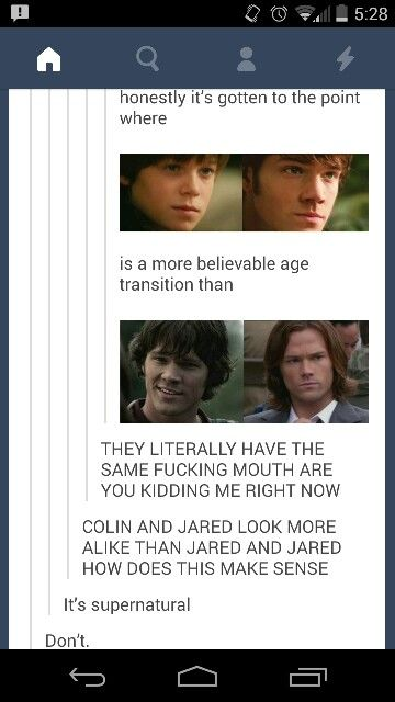 """It's supernatural."" ""Don't."" Lol"