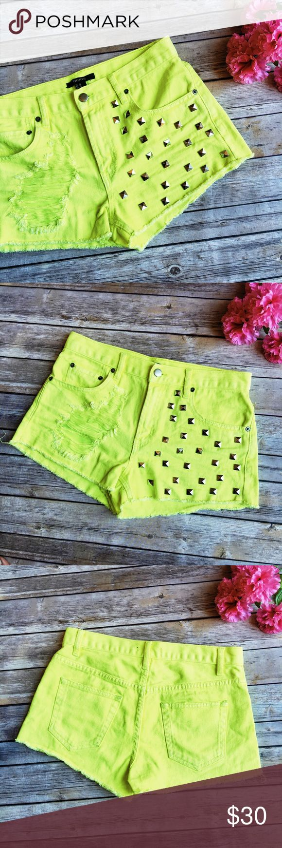 Forever 21 Neon Yellow Studded Cutoff Jean Shorts ★ NWOT, in perfect condition!  ★ These incredible neon yellow cutoff shorts from Forever 21 are a show stopping piece! Perfect for summer and festival season!  ★ 100% Cotton. ★ NO TRADES!   ★ NO MODELING!  ★ YES REASONABLE OFFERS! ✅ ★ Measurements available by request and as soon as possible.  Forever 21 Shorts