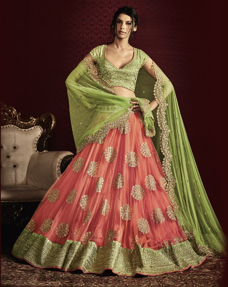 Light Green-Peach Net Heavy Embroidery Designer Bridal Lehenga Saree. Buy Now :- https://goo.gl/Alfqbq #CashonDelivery & #FreeShipping Available In India.