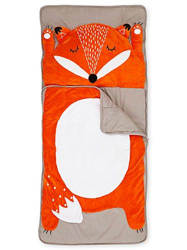 The adorable fox face on this canvas-and-fleece pallet moonlights as a plush pillow.