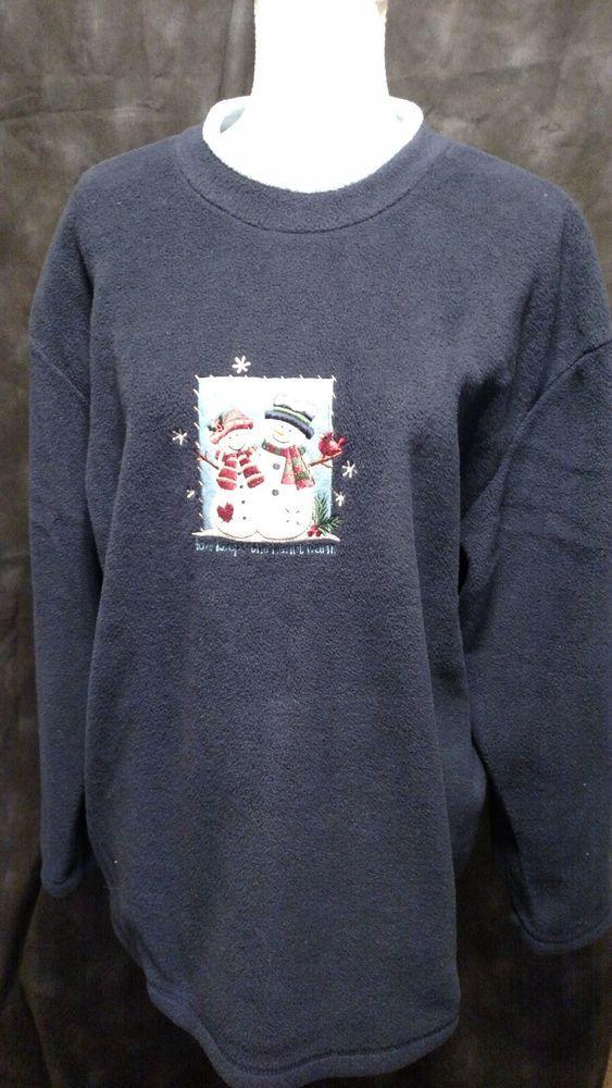 C & B Sport Pullover Shirt Blue Size XL Christmas Snowmen #CBSportbyCroftBarrow #SweatShirt #Christmas