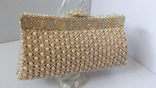 Champagne Cat's Eye Beads Crystals Hard Case Evening Purse Bag   eBay