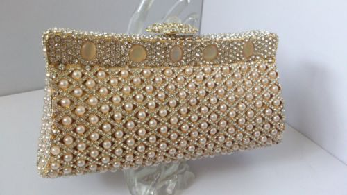 Champagne Cat's Eye Beads Crystals Hard Case Evening Purse Bag | eBay