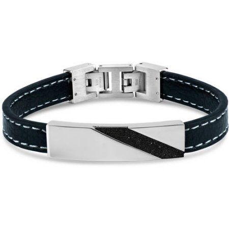 316L Stainless Steel Black IP Stripe Leather Bracelet, 9 inch