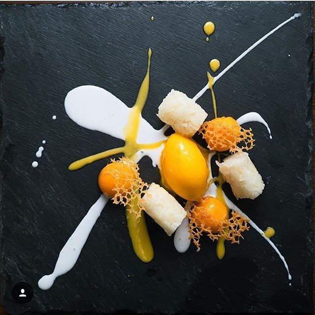 Mango sticky rice, mango sorbet, mango, salted coconut cream, and mung bean tuile by @lennardy #TheArtOfPlating