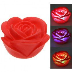 $1.41 Seven Color Changing Light Rose Shape Small LED Novelty Lamp (Red)